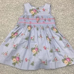Laura Ashley Blue Floral Sleeveless Baby Dress